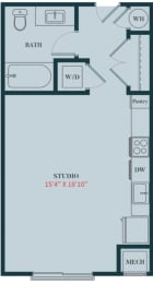 S1 - Studio Apartment Floor Plan Design - 471 sq. ft. - Apartments in Des Plaines