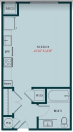S2 - Studio Apartment Floor Plan Design - 499 sq. ft. - Apartments in Des Plaines