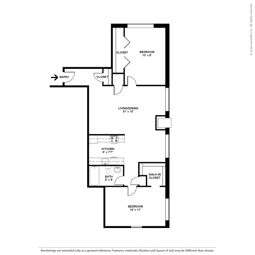 Floor Plan  Two Bedroom- The Cypress, opens a dialog.