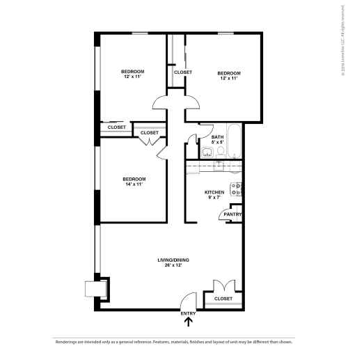Floor Plan  Three Bedroom- The Deville, opens a dialog.