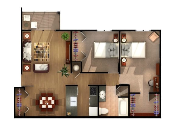 Floor Plan  Two Bedroom One Bathroom Floor Plan at Geary Estates Apartments, MRD Conventional, Kansas, 66441