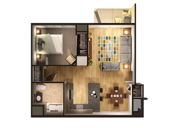 Floor Plan  One Bedroom Floor Plan at Oliver Apartments, Temperance, Michigan