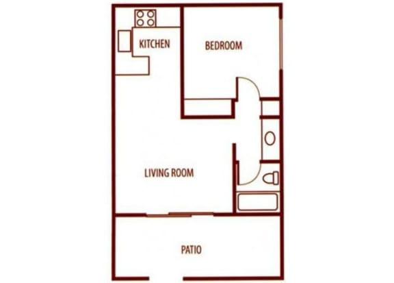 Floor Plan  1 bedroom 1 bathroom floor plan at SunVilla Resort Apartments in Mesa, AZ