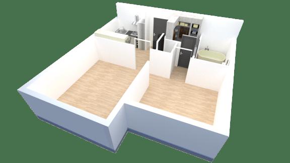 Floor Plan  1 bedroom 1 bathroom floor plan at Tanner Gardens in Phoenix, AZ