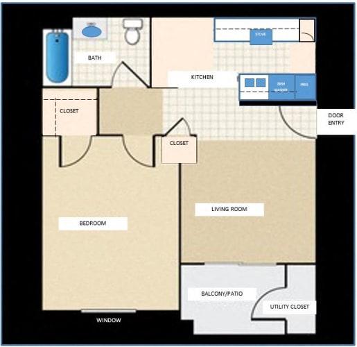 Floor Plan  1 bedroom 1 bathroom floor plan at Tanner Manor in Phoenix, AZ