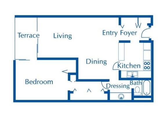Floor Plan  1 bedroom 1 bathroom floor plans at The Van Buren Apartments in Tucson, AZ