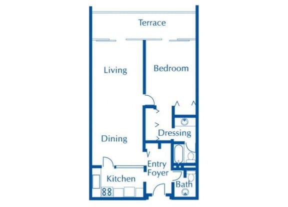 Floor Plan  1 bedroom one-a-half bathroom floor plan at The Van Buren Apartments in Tucson, AZ