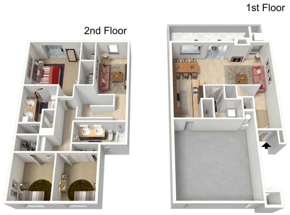 Floor Plan  Three Bedroom 1874 sq ft, opens a dialog.