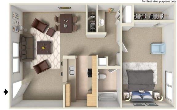 Floor Plan  One bedroom floor plan image at River Oaks Apartments in Tucson AZ
