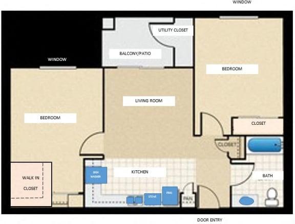 Floor Plan  2 bedroom 1 bathroom floor plan at Tanner Manor in Phoenix, AZ