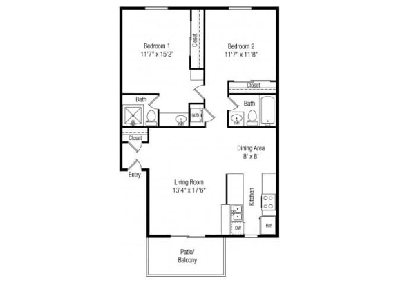 Floor Plan  2 Bedroom 2 Bathroom floor plan at Papago Crossing Apartments in Phoenix, AZ