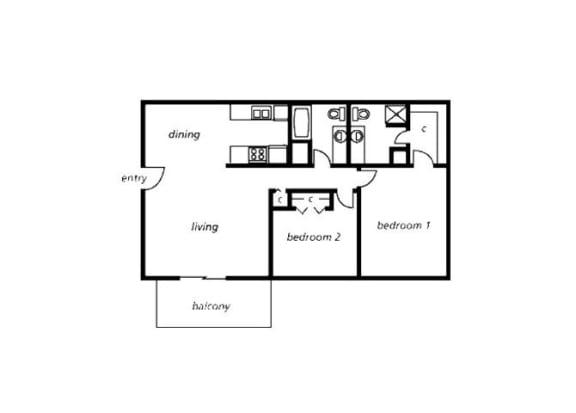 Floor Plan  2 bedroom 2 bathroom floor plan at The View At Catalina Apartments in Tucson, AZ