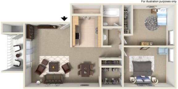 Floor Plan  2 bedroom 1 bathroom at River Oaks Apartments in Tucson, AZ