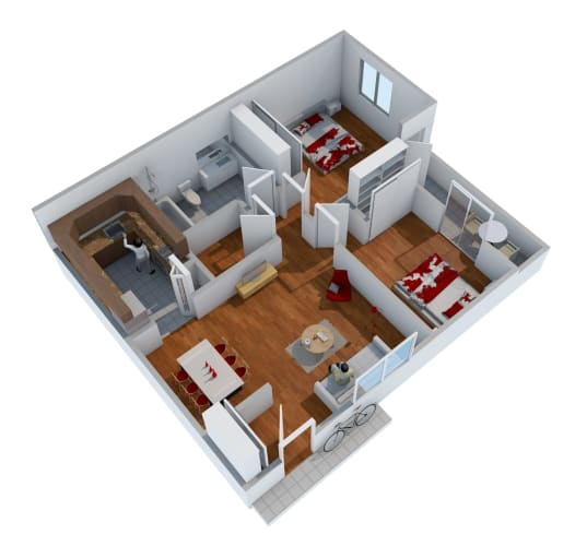 Floor Plan  2 bedroom 1 bathroom floor plan image at Nine90 Apartments in Tucson AZ