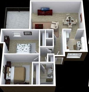 Floor Plan  2 bedroom 1 bathroom floor plan image at Villas de la Terraza Apartments in Albuquerque NM