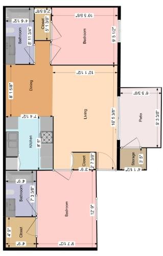 Floor Plan  2 Bedroom 2 Bathroom at la Lomita Apartments in Tucson AZ