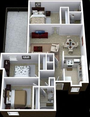 Floor Plan  3 bedroom 2 bathroom floor plan image at Villas de la Terraza Apartments in Albuquerque NM