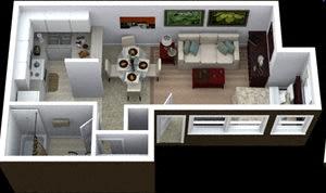 Floor Plan  Studio floor plan image at Villas de la Terraza Apartments in Albuquerque NM