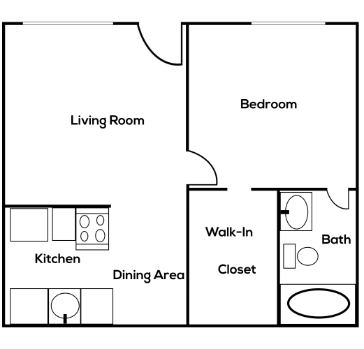 Floor Plan  1 bedroom 1 bathroom at Zona Village in Tucson Arizona