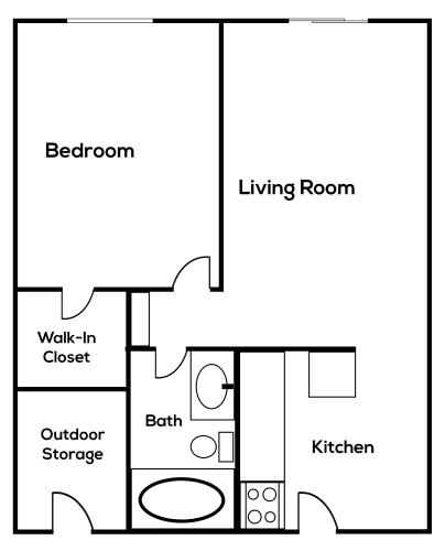 Floor Plan  1bedroom 1 bathroom at Zona Village in Tucson Arizona