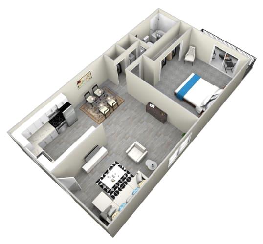 Floor Plan  1 Bed 1 Bath apartment at Bella Park Apartments