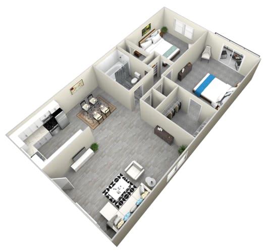 Floor Plan  2 Bed 1 Bath apartment at Bella Park Apartments