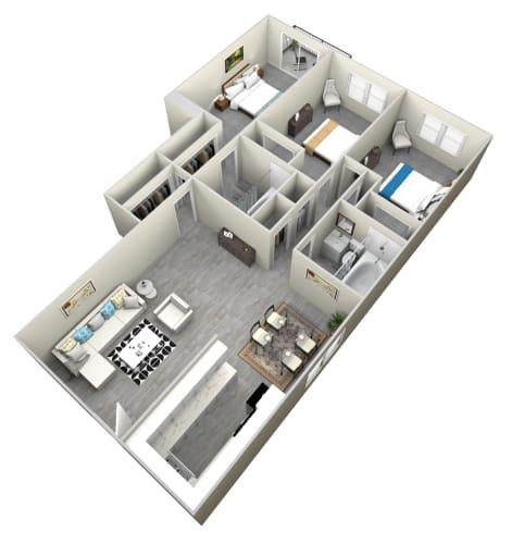Floor Plan  3 Bed and 2 bath apartment at Bella Park Apartments