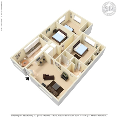 Floor Plan  Palm Central South Apartments 3 bedroom