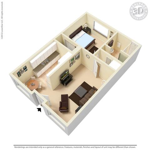 Floor Plan  Palm Central South Apartments 1 bedroom
