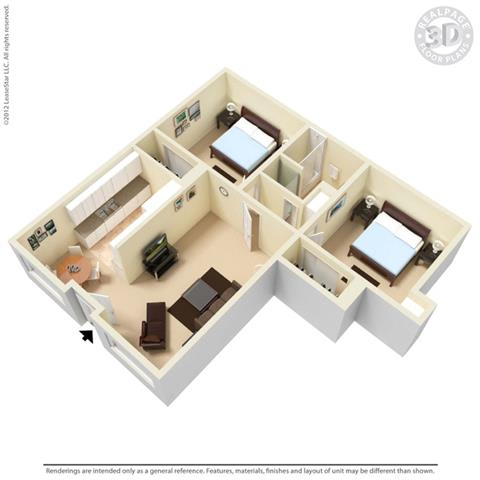 Floor Plan  Palm Central South Apartments 2 bedroom