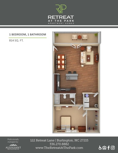Floor Plan  1 Bed, 1 Bath_814