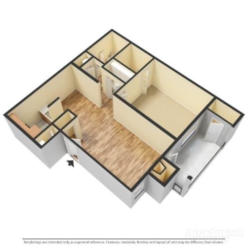 Floor Plan  a 3-d image of a 1 bedroom, 1 bathroom floorplan at Forest Pointe Apartments in Macon, GA