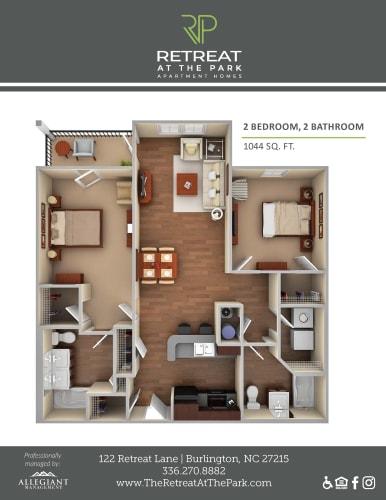 Floor Plan  2 Bed, 2 Bath