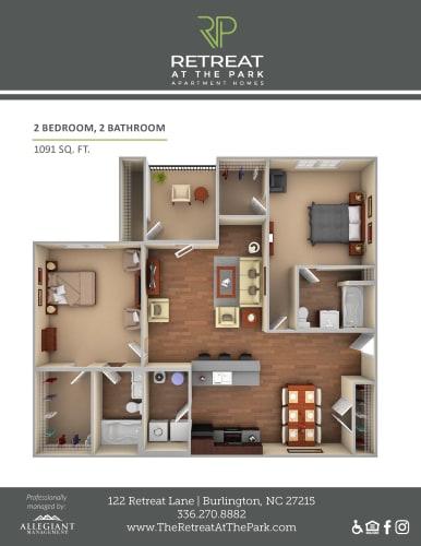 Floor Plan  2 Bed, 2 Bath_1091