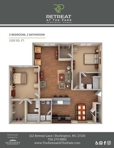 Floor Plan  2 Bed, 2 Bath_1193