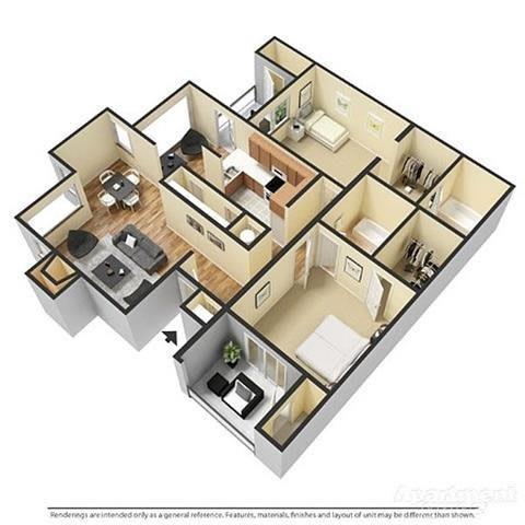 Floor Plan  a 3-d image of a 2 bedroom, 2 bathroom floorplan at Forest Pointe Apartments in Macon, GA