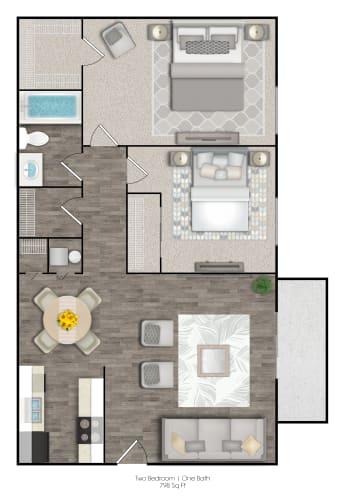 Floor Plan  Two Bedrooms Two Bathrooms