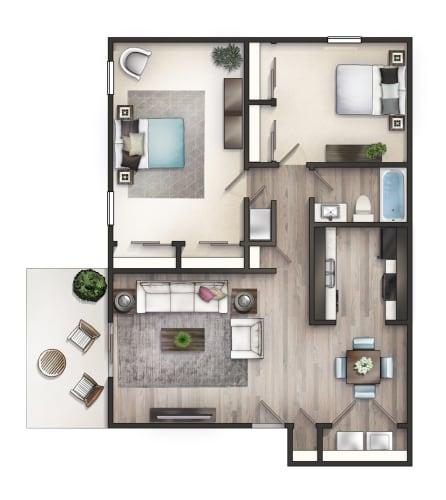Floor Plan  2 BD Flat