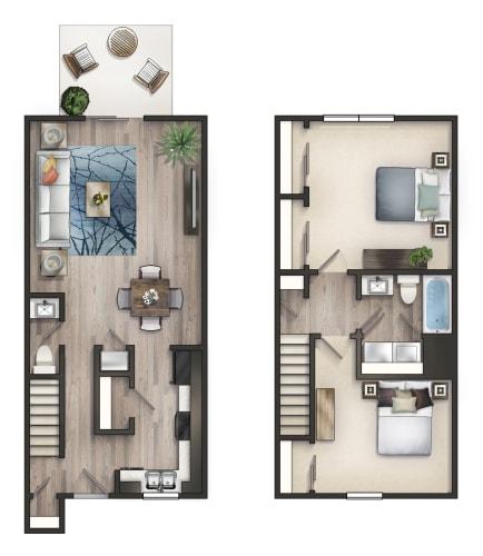 Floor Plan  2 BD TH