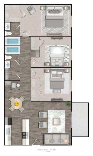 Floor Plan  Three Bedrooms Two Bathrooms