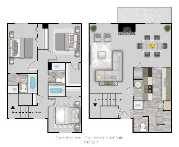 Floor Plan  Three Bedroom Two and Half Bathrooms