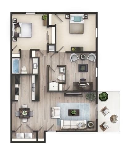 Floor Plan  3 BD Flat