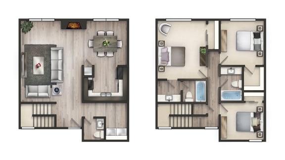 Floor Plan  3 BD TH