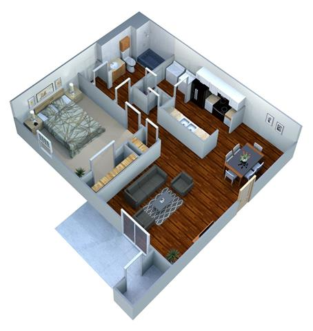 Floor Plan  1 Bed - 1 Bath