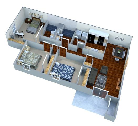 Floor Plan  3 Bed - 2 Bath