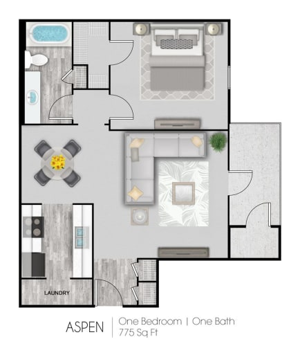 Floor Plan  Summer Trace one bedroom & one bathroom floor plan with 775 square feet called Aspen in Gulf Shores, AL