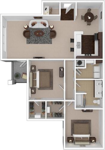 Floor Plan  Riverstone two bedroom & one bathroom floor plan with 1326 square feet called Beryl Great Room in Macon, GA