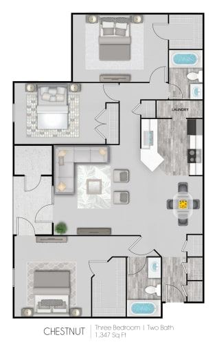 Floor Plan  Summer Trace three bedroom & two bathroom floor plan with 1347 square feet called Chestnut in Gulf Shores, AL