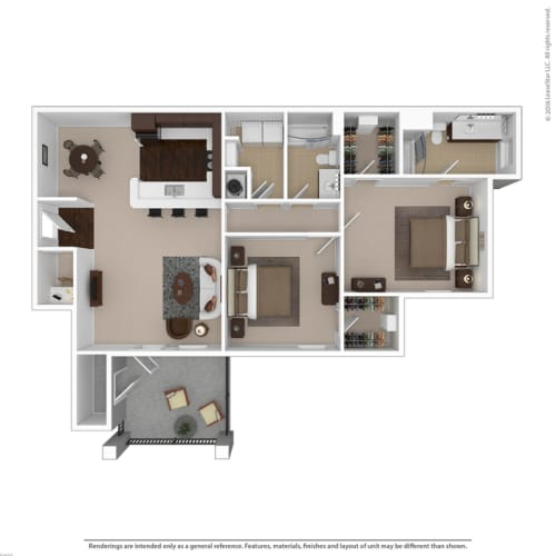 Floor Plan  Riverstone two bedroom & two bathroom floor plan with 1240 square feet called Crystal in Macon, GA apartments