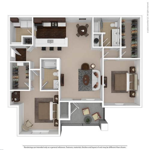 Floor Plan  Riverstone two bedroom & two bathroom floor plan with 1360 square feet called Diamond in Macon, GA apartments
